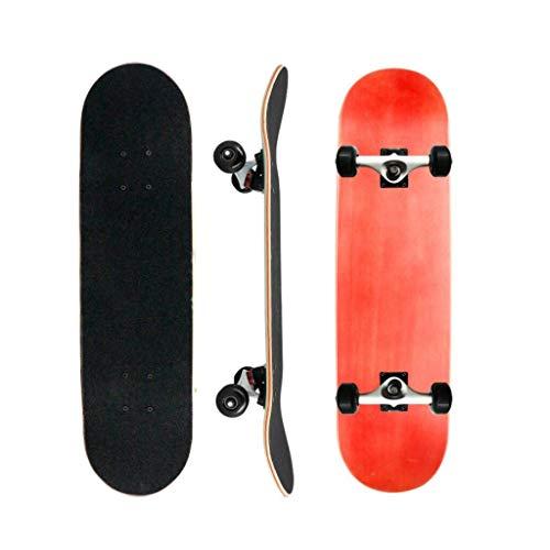 Tabla de skate de cuatro ruedas de arce doble con tabla de skate profesional con soporte de metal para monopatín Scooter Skate Board (Color: B)