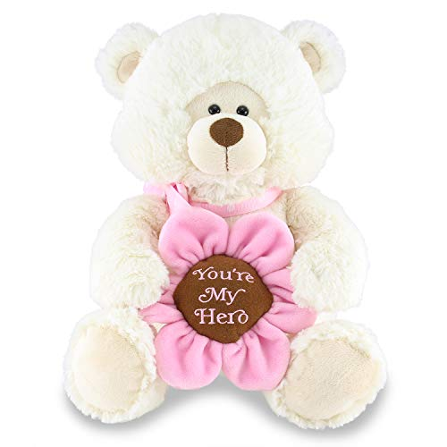 Cuddle Barn Hazel - Animated Musical Hero Appreciation Stuffed Animal Teddy Bear Plush Toy Plays 'Wind Beneath My Wings,' 10 Inches
