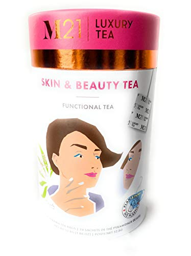 Skin and Beauty Herbal Tea - Functional Tea - 24 Luxury Pyramid Tea Bags in a Paper can. Rejuvenate Skin to a Healthy Glow. A Fresh air Blend of Herbs.
