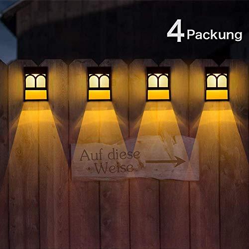 Solarleuchten für Außen, Solar-LED-Außenwandleuchten für Decke 2 Modi, Hof und Einfahrt, Zaun, Terrasse, Haustür, Treppe, Landschaft, Farbwechsel Warm/Weiß, 4er Packung