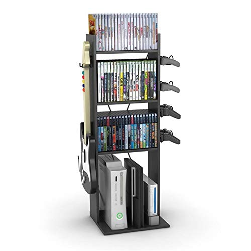 Pemberly Row Video Game Console Organiser Storage Stand 4 Shelves in Black
