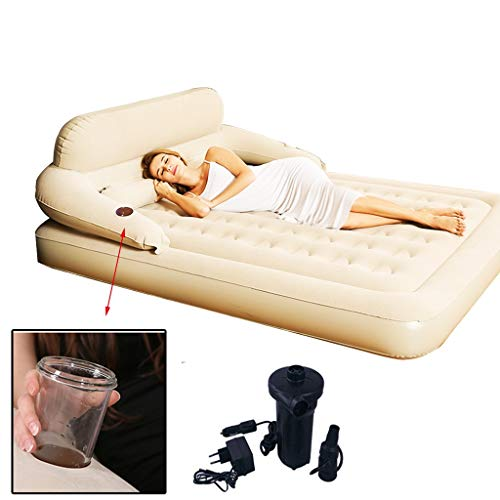 Loungers Inflatable Bed Household Double Air Bed PVC Inflatable Bed Thick Portable Air Bed Three-stage Backrest Waist Is Not Sour As A Gift (Color : Beige+c, Size : 203x183x22cm)