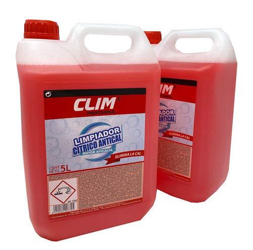 Climprofesional. Limpiador cítrico de Cal y Suciedad para baños y multisuperficies. Especial antical, desincrustante y antigotas. Caja con 2 garrafas de 5 litros