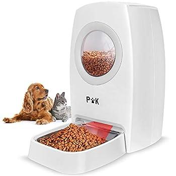 PUPPY KITTY Distributeur Automatique de Nourriture pour Chats, Chiens, avec Bol de Nourriture en Acier Inoxydable, enregistreur Vocal, Double Maintien de la fraîcheur et zéro colmatage