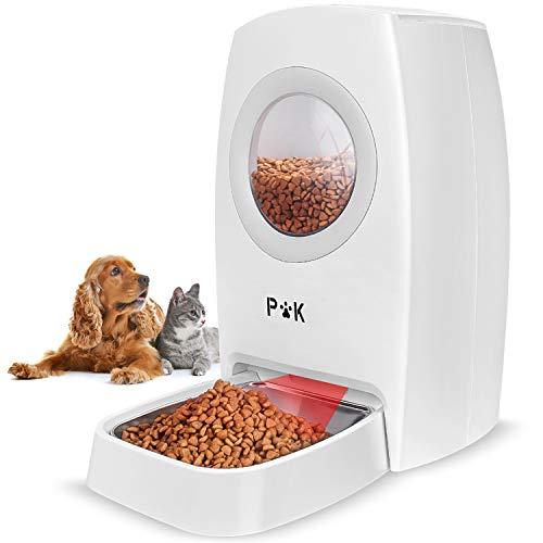 PUPPY KITTY 6L Comedero automático para Perros y Gatos, Alimentador automático con Temporizador con hasta 4 Comidas por día, Pantalla LCD y función de grabación de Sonido (Beige).