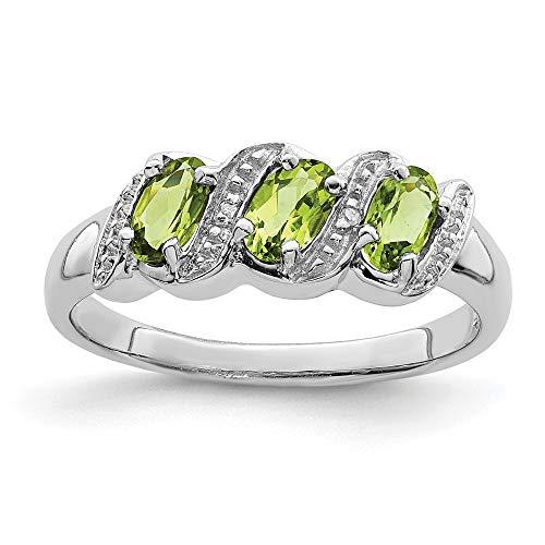 Plata de Ley rodio Peridot y anillo de diamantes en bruto - tamaño N 1/2 - JewelryWeb