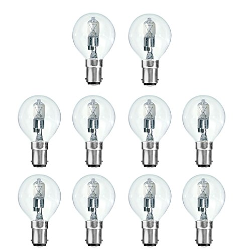10x Pack 28W = 40W 240V SBC B15kleiner Bajonettsockel geringe Qualität Eco Halogen klar Golfball Glühbirnen