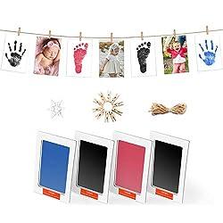 """Norjews Baby Handabdruck und Fußabdruck Fotoalbum mit Zwei""""CleanTouch"""" Stempelkissen und Vier Druckkarten - Babyhaut kommt nicht mit Farbe in Berührung, Das ideale Babyparty Geschenk"""