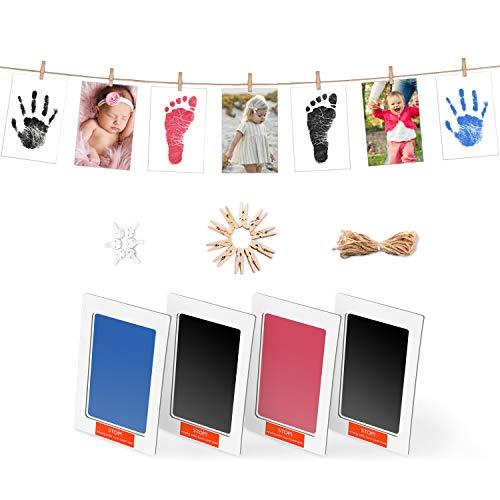 Norjews Baby Handabdruck und Fußabdruck Set in 3 Farben, Baby Abdruck mit 4 x