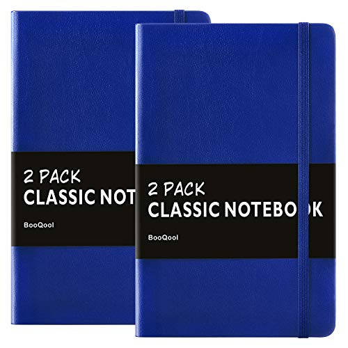 2 Pack Notebooks/Journals - Premium Thick Paper Faux Leather Writing Classic Ruled Notebook, Blue, Hard Cover, Large, Lined (5.4 x 8.3)