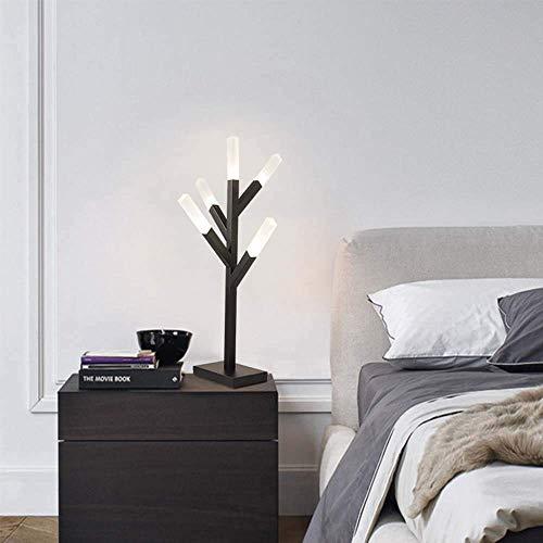 GLYYR Lámpara de Escritorio Pintura acrílica LED para Hornear Rama de árbol Sala de Estar Dormitorio Junto a la Cama Accesorio de iluminación Moderno Blanco y Negro (Color:Blanco) (Color : Black)