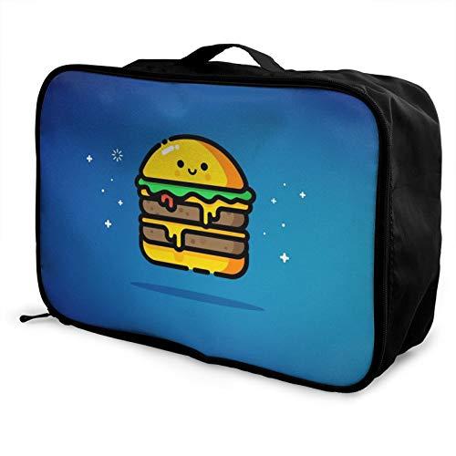 Hamburguesa de queso azul digital arte viaje bolsa impermeable moda ligero gran capacidad portátil equipaje bolsas