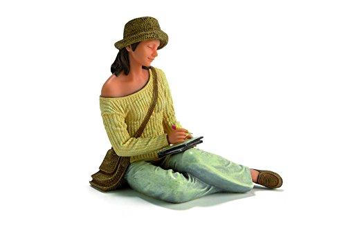Nadal Figura Decorativa sentada escribiendo, Resina, Multicolor, 10.50x13.00x14.50 cm