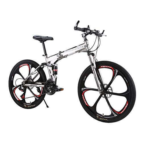 ZURQV Folding Mountain Bike Variable Speed Bicycle 26 Inch Adult Men and Women Suspension Bike