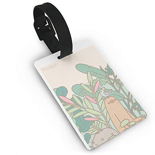 Etiqueta de equipaje Push-EEN gato verde, etiquetas de identificación de anime, etiquetas de viaje para maleta, maletero, privacidad, etiquetas de nombre de la cubierta de moda de 3.7 x 2.2 pulgadas