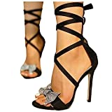 Cenglings Women Pointed Toe Crystal Butterfly Shallow Cross Steap Lace Up Sandals High Stiletto Heel Pumps Casual Shoes Black
