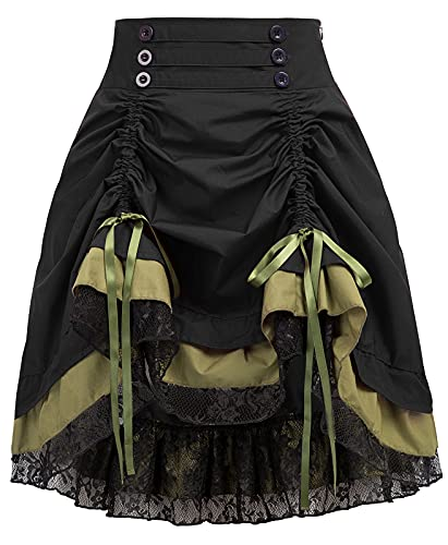 Women's Steampunk Corset Dress Costume Burlesque Halloween Costumes Victorian(M, Black)
