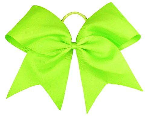 Neon Green Bows for Hair-HipGirl Women 6' Jumbo Extra Large Cheer Bows, Elastic Cheer Ponytail Hair Holder, Cheerleading Hair Bows, (2pc Green Cheer Bows)