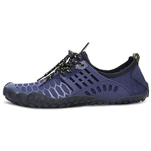 SXQSNKJ Zapatos de Playa para Hombre Zapatos sin Cordones para Surf Zapatos de Buceo Zapatillas de Deporte Zapatos Ligeros Zapatos para Caminar de Secado rápido Aqua,Blue-38(UK5)