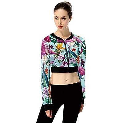 TropicalFloral FashionWomen's Crop Top Jacket for Gym,M by C COABALLA