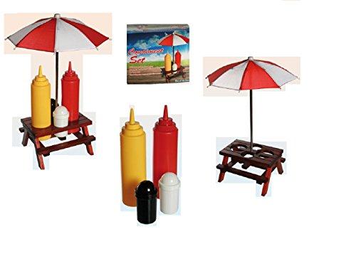 Zout en peper strooier een andere kruidenhouder houten picknicktafel, met parasol, kunststof zout & peper strooier, mosterd- & ketchup fles ideaal voor het barbecueseizoen - een echte blikvanger