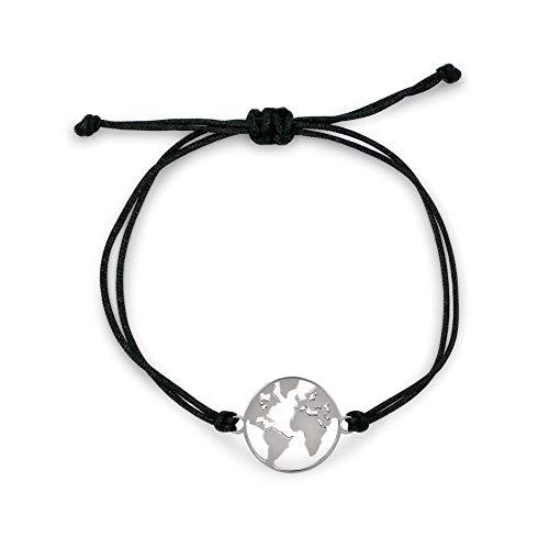 Nuoli® Weltkugel Armband Silber (verstellbar bis 20 cm) Welt Armband Damen Silber mit Erde Anhänger
