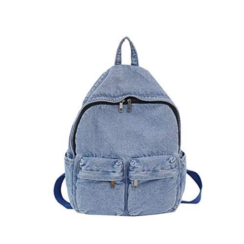 Mochila para portátil de estilo vintage, de tela vaquera, para viajes, escuela, universidad, para mujeres, adolescentes, niñas, estudiantes, mochila azul claro