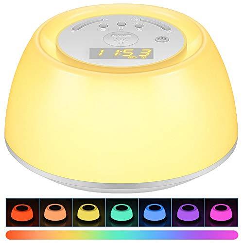 LED Smart Wecker, Sonnenaufgang Wecklicht, Schlafmittel Nachtlicht, Snooze-Funktion, Nachttischlampe, 8 Arten Von Natürlichem Klang, Perfektes Geschenk,Weiß