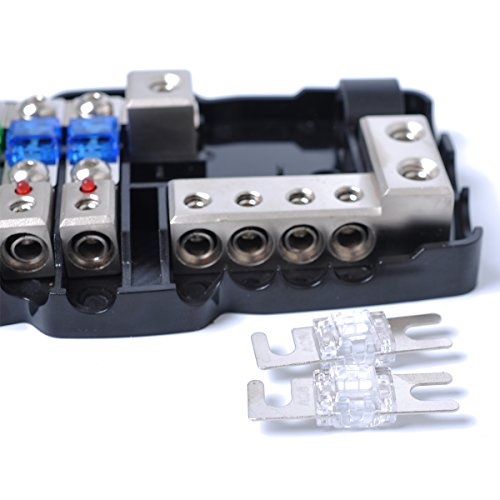 1x 30A 60A Multifunctional LED Car Audio Mini ANL Fuse Box 4 Way Fuse block