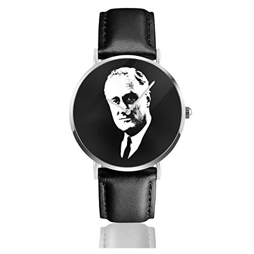 Roosevelt - Orologio unisex al quarzo, in pelle nera e bianca, con cinturino in pelle nera, per uomo e donna