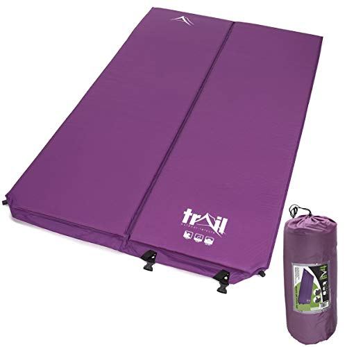 trail outdoor leisure Double Camping Mat Inflatable Camp Roll Mattress Self Inflating 2.5cm Thick