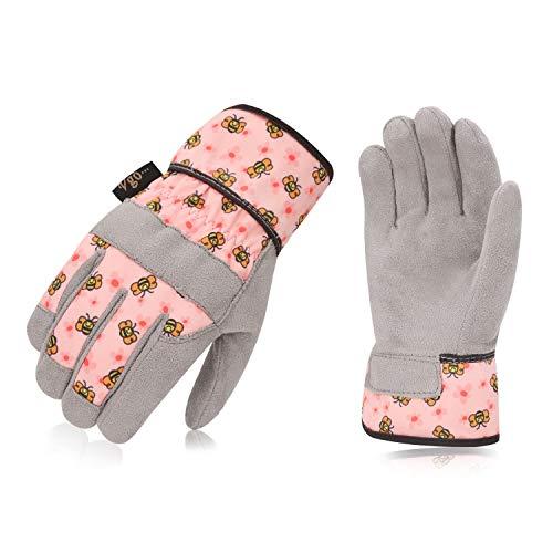 Vgo Kinder 4-5 J.A, Kinderarbeits- und Gartenhandschuhe, weiche Mikrofaserhandfläche, Handrücken aus Flex, atmungsaktiv (1 Paar, Kid-S, Rosa, KID-MF3561)