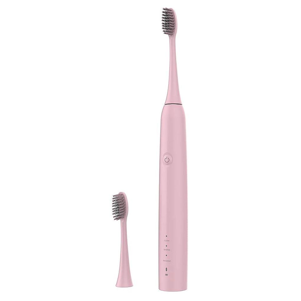 近代化する流強化Lazayyii 新しいT2P電動歯ブラシ 携帯用 口腔衛生 電気マッサージ 口腔ケア (ピンク)