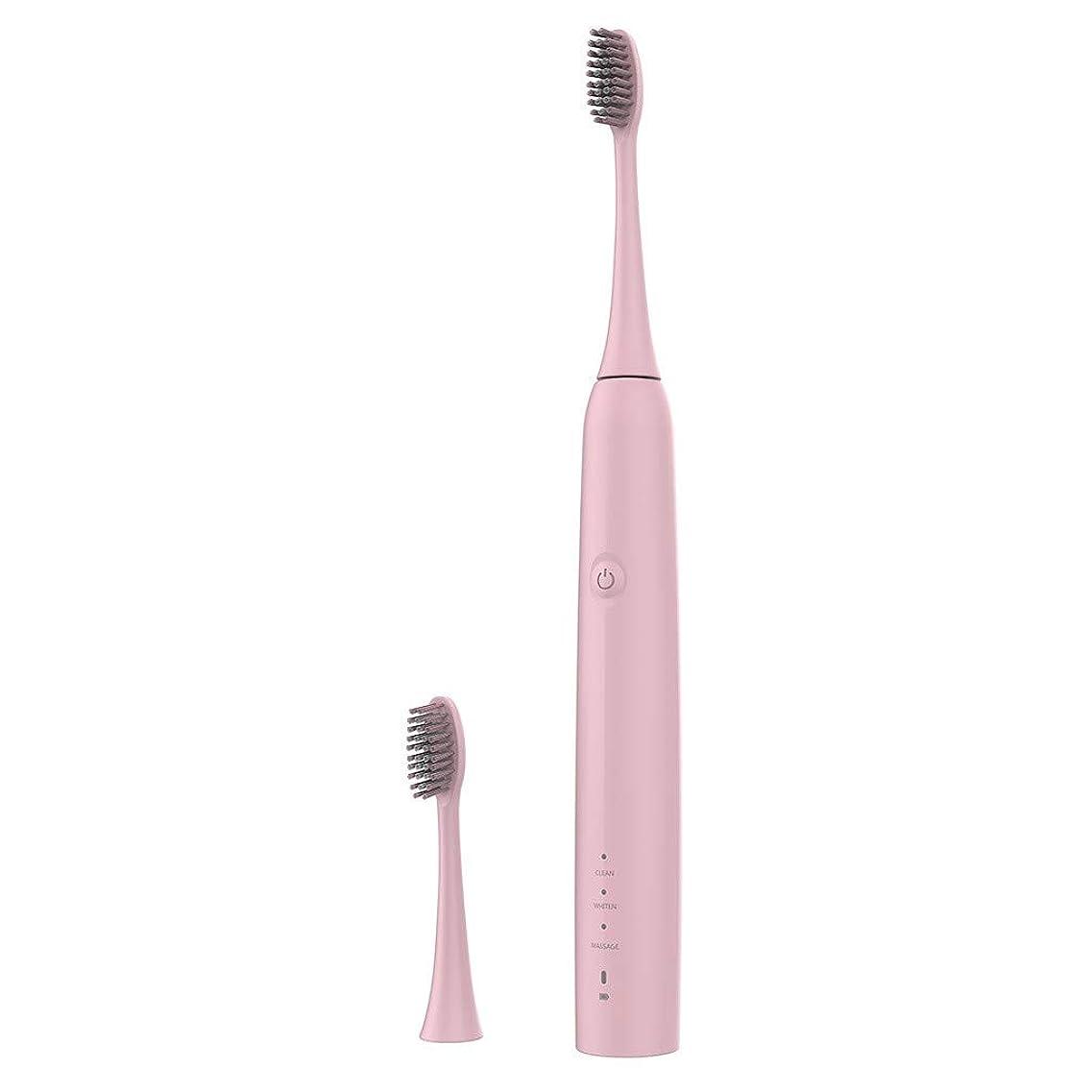 なるしっかりパイプラインLazayyii 新しいT2P電動歯ブラシ 携帯用 口腔衛生 電気マッサージ 口腔ケア (ピンク)