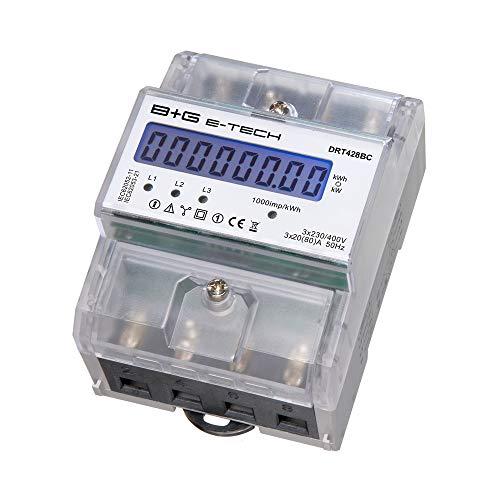 B+G E-Tech DRT428BC - digitaler 3-Phasen Stromzähler Drehstromzähler für DIN Hutschiene mit S0 als Zwischenzähler geeignet bis 80A mit LC-Display 3x 230V/400V CE-zertifiziert Elektro Zähler Wattmesser