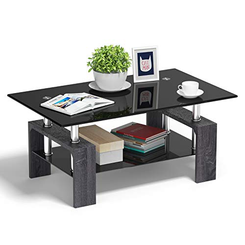 Tangkula Rectangle Glass Coffee Table, Clear Coffee Table with Lower Shelf Wooden Legs, Center Tables for Living Room (Black)