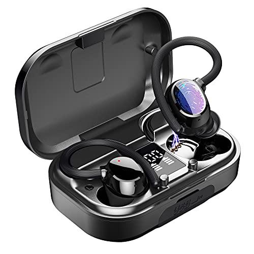Bluetooth Kopfhörer In Ear, Kopfhörer Kabellos mit Intensivem Bass, Sport Kopfhörer mit Digitalanzeige Ladekoffer kann als Powerbank, Bluetooth 5.0 Kopfhörer mit IP67 Wassersdicht für Android und iOS