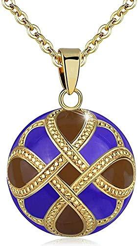 Yiffshunl Collar de Moda Collar de Bola de armonía Campana Azul Colgante de Bola de Embarazo Buena Suerte Diseño de Nudo Collar de Bola Musical para Mujer Collar de joyería