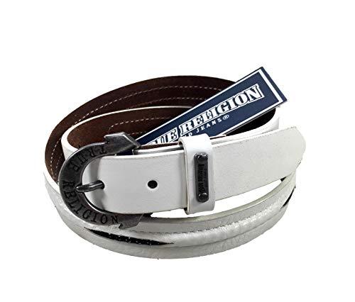 Womens True Religion Jeans Leather Belt White Chain Hardware Logo Horseshoe Buckle (28)