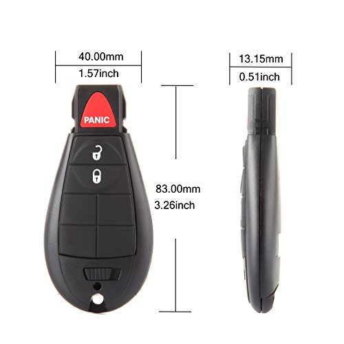 ECCPP Replacement for 2X 3 Button Uncut Keyless Entry Remote Key Fob 08 09 10 11 12 13 14 15 for dodge journey key fofor Chrysler for Dodge Volkswagen M3N5WY783X 433MHz 2009 for dodge charger key fob