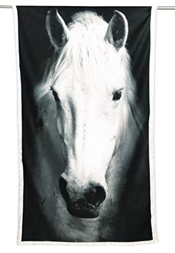 Tex family Toalla de playa de rizo con caballo blanco, tamaño grande, 90 x 170 cm