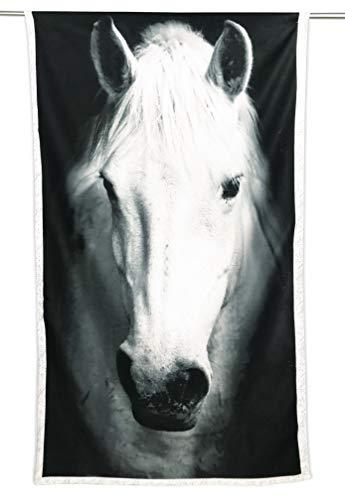 tex family strandlaken van badstof paard wit grootte 90 x 170 cm