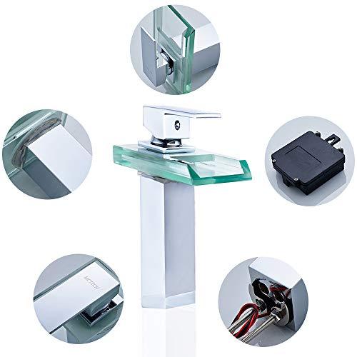 wolketon RGB LED Messing Wasserhahn Waschtisch Armatur Wasserfall Waschtischarmatur Küchenarmatur für Badenzimmer Küchen
