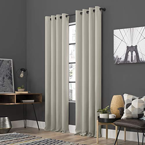 "Sun Zero Soho 2-Pack Energy Efficient Blackout Grommet Curtain Panel Pair, 54"" x 84"", Pearl"