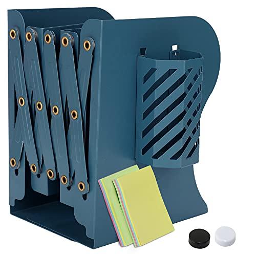 DARUITE Sujetalibros con Portalapices Extraíble, Sujeta Libros Telescópicos de Metal Organizador de Escritorio Extensible Apoya Libros para Oficina, Escuelas, Decoración del Hogar, Azul Oscuro