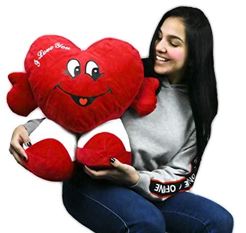 ML Peluche Corazon enaorado Regalo para el Dia de los Enamorados Corazón de Peluche, con pies. Te Quiero. de Altura 45 cms. Tiene un Mensaje de 'I Love You'