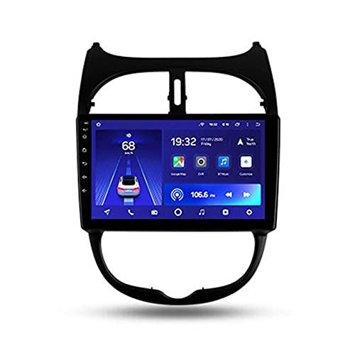 Android 10 Da 9'' Autoradio Per Peugeot 206 1998-2012,Supporto BT Controllo Del Volante Collegamento Specchio Telecamera Di Retromarcia 4G LTE+5G WIFI Dinamica Di Guida 3D in Tempo Reale,Cc2l,2+32G