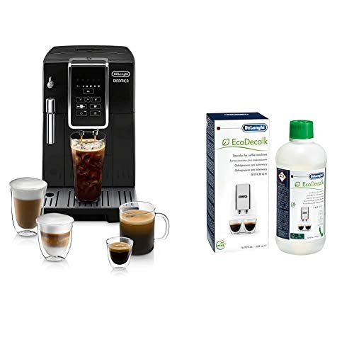 De'Longhi ECAM35020B Dinamica Automatic Coffee & Espresso Machine TrueBrew (Iced-Coffee), Burr Grinder + Descaling Solution, Black & EcoDecalk Descaler, 16.90 oz (5 uses)
