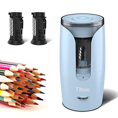 Tihoo電動シャープナー 全自動鉛筆削り 子供用の鉛筆削り 強いスパイラルカッター 6-8mmの色鉛筆用の電動鉛筆削り リチウム電池の供電方式 ムダ削り防止機能 予備のスパイラルカッターが付き 子供 学校 事務用(青)