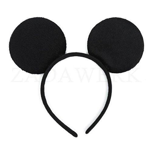 ZADAWERK® Haarreif - Micky Mouse - Schwarz - Ohren - Kostüm - Karneval - Kinder